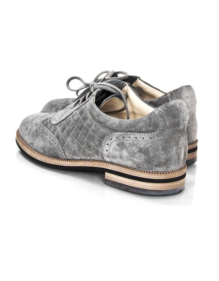 e97b25eee173f Chanel Grey Perforated Quilted Suede Oxford's Sz 42 with Box In Excellent  Condition For Sale In
