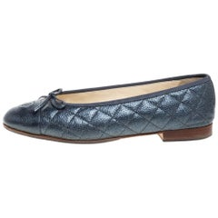 Chanel  Grey Quilted Caviar Leather CC Bow Cap Toe Ballet Flats Size 39.5