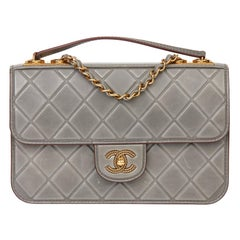 Chanel Grey Quilted Debossed Aged Calfskin Leather Classic Single Flap Bag