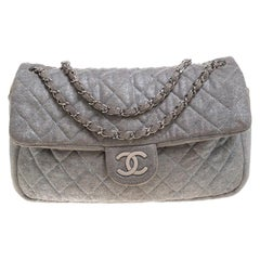 Chanel Grey Quilted Jersey Jumbo Classic Single Flap Bag