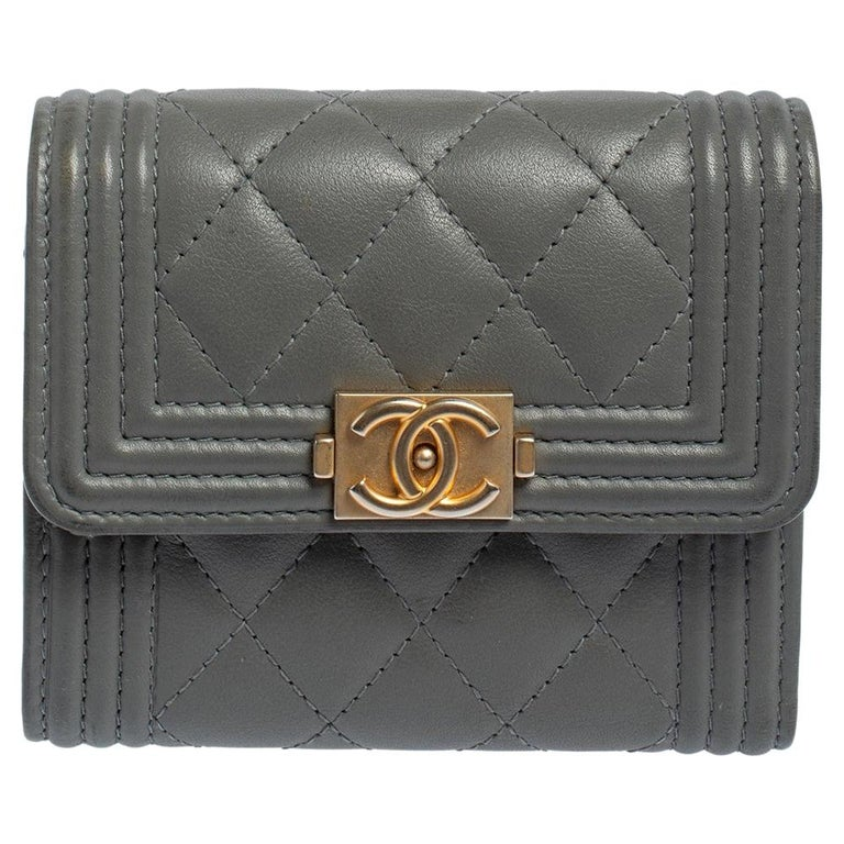Chanel Grey Quilted Leather Boy Card Holder For Sale