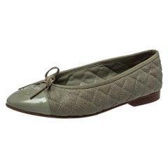 Chanel Grey Quilted Leather CC Bow Cap Toe Ballet Flats Size 38