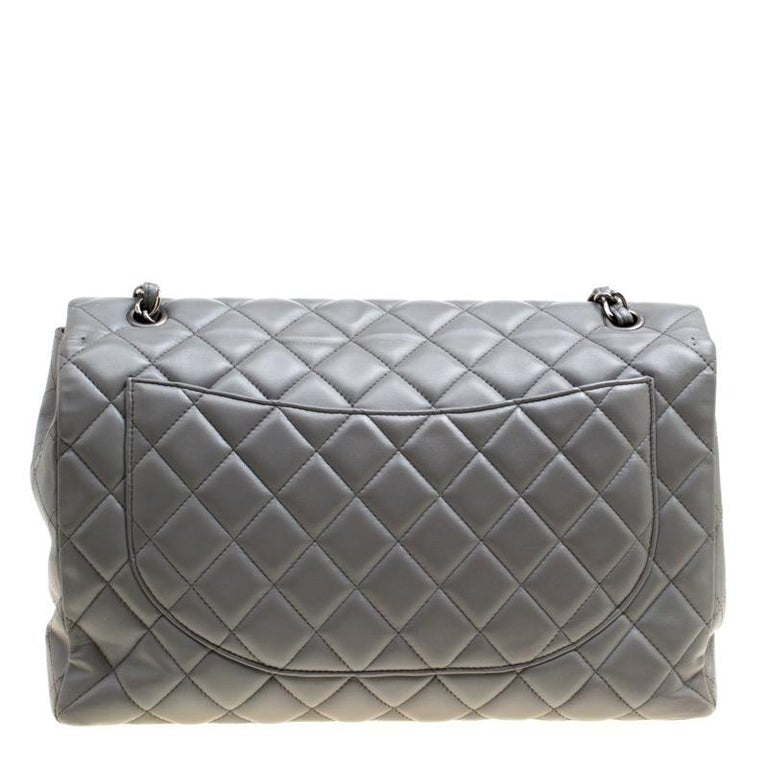 8ee77cfd73f9 Chanel Grey Quilted Leather Maxi Classic Single Flap Bag For Sale. Chanel s  Flap bags are the most iconic handbags. The classic single flap bag is  crafted