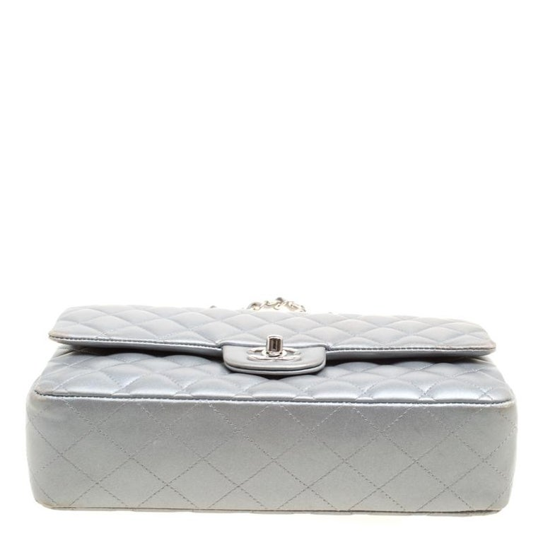 Chanel Grey Quilted Leather Medium Classic Double Flap Bag 5