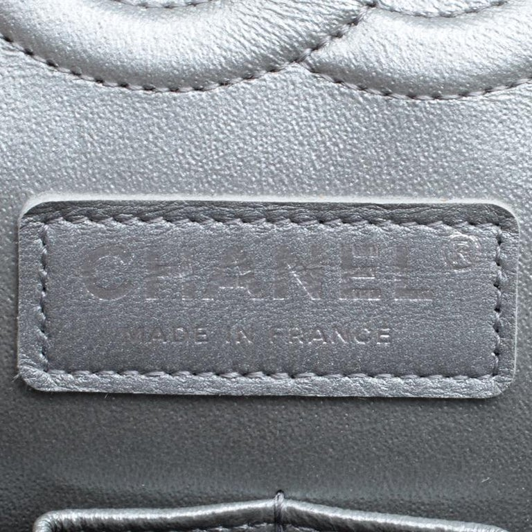 Chanel Grey Quilted Leather Medium Classic Double Flap Bag 6