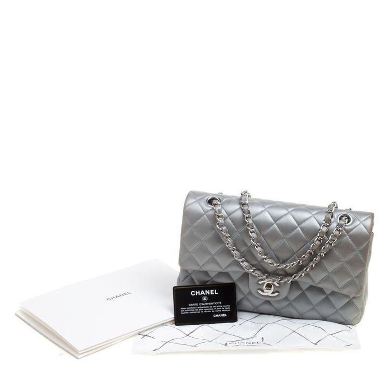 Chanel Grey Quilted Leather Medium Classic Double Flap Bag 7