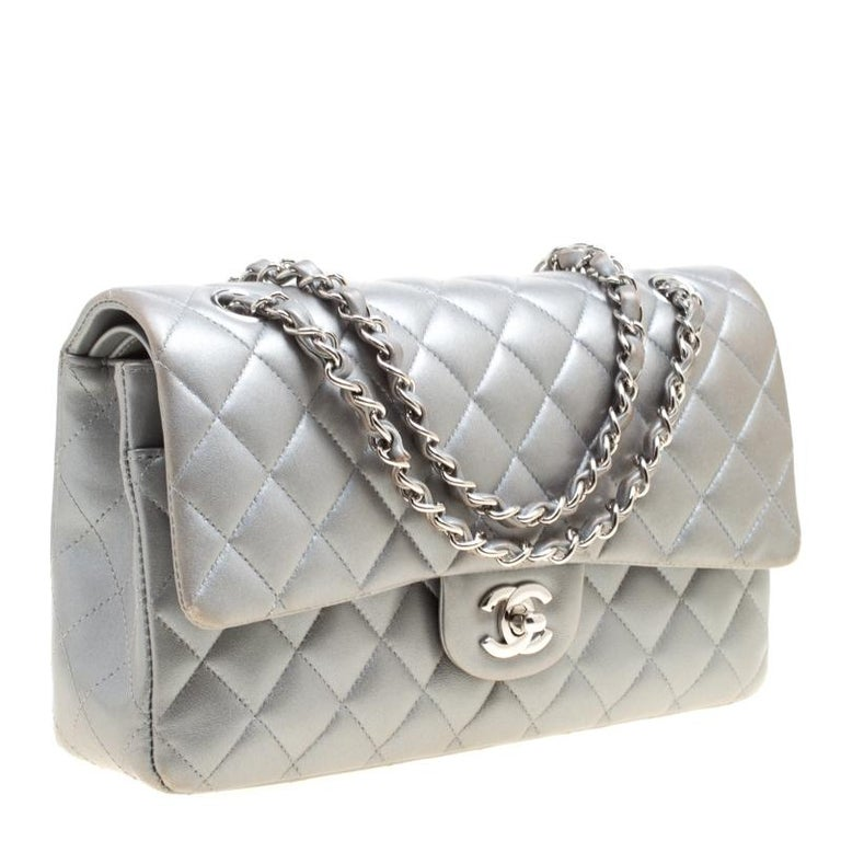 Gray Chanel Grey Quilted Leather Medium Classic Double Flap Bag