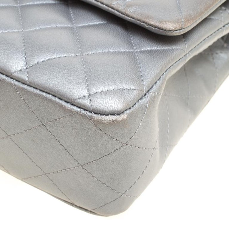 Chanel Grey Quilted Leather Medium Classic Double Flap Bag 1