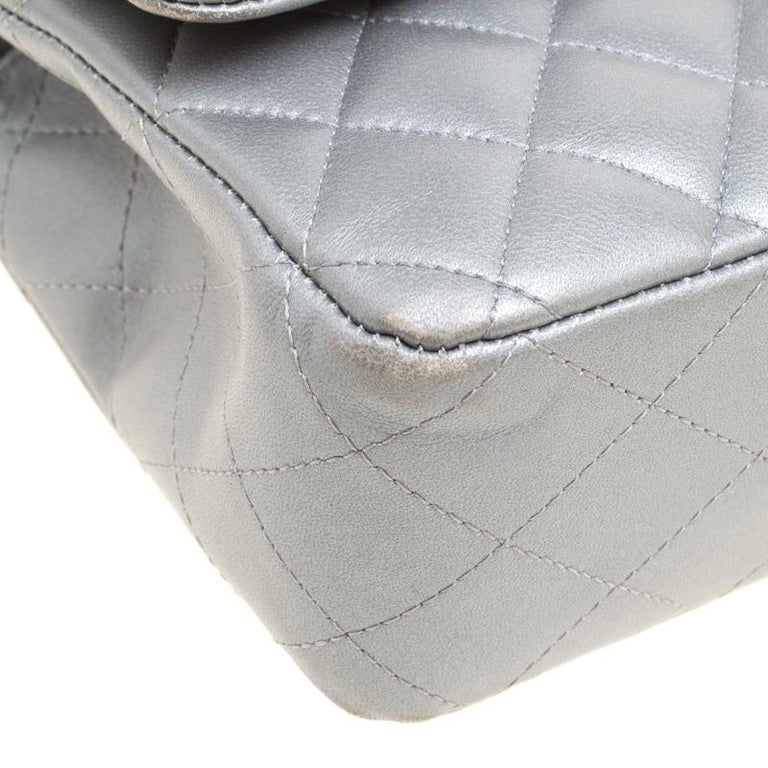 Chanel Grey Quilted Leather Medium Classic Double Flap Bag 4