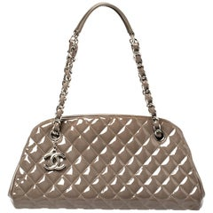 Chanel Grey Quilted Patent Leather Medium Just Mademoiselle Bowler Bag