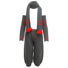 Chanel Grey & Red FW 84/85 Knit 3-Piece Set