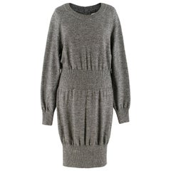 Chanel Grey Ribbed-Waist Wool-Knit Dress US 12