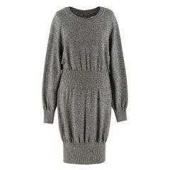 Chanel Grey Ribbed-Waist Wool-Knit Dress US 12