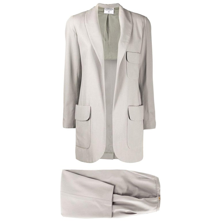Chanel Grey Silk Trouser Suit For Sale