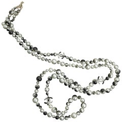 Chanel Grey Silver and Long Pearl Cc Necklace