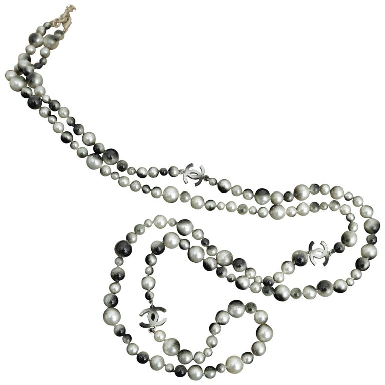 Chanel Grey Silver and Long Pearl Cc Necklace For Sale