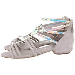 Chanel Grey Silver-Iridescent Gladiator Sandals