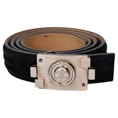 Chanel Grey Suede Boy Belt (Size 95/38)
