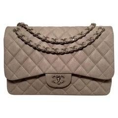 Chanel Grey Suede Caviar Jumbo Double Flap Classic 2.55