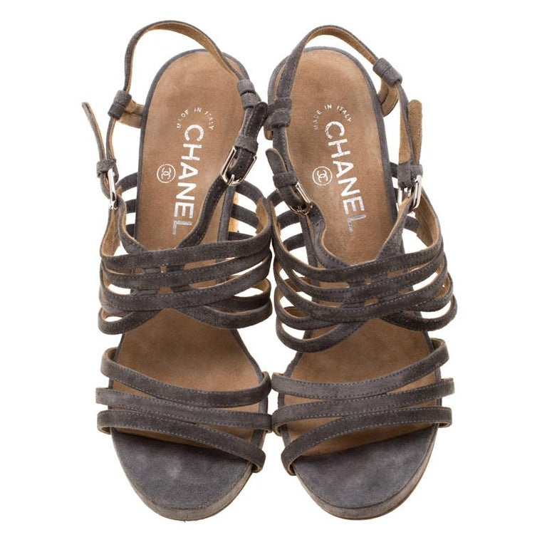 Brown Chanel Grey Suede Chain Embellished Cork Heel Strappy Sandals Size 39 For Sale