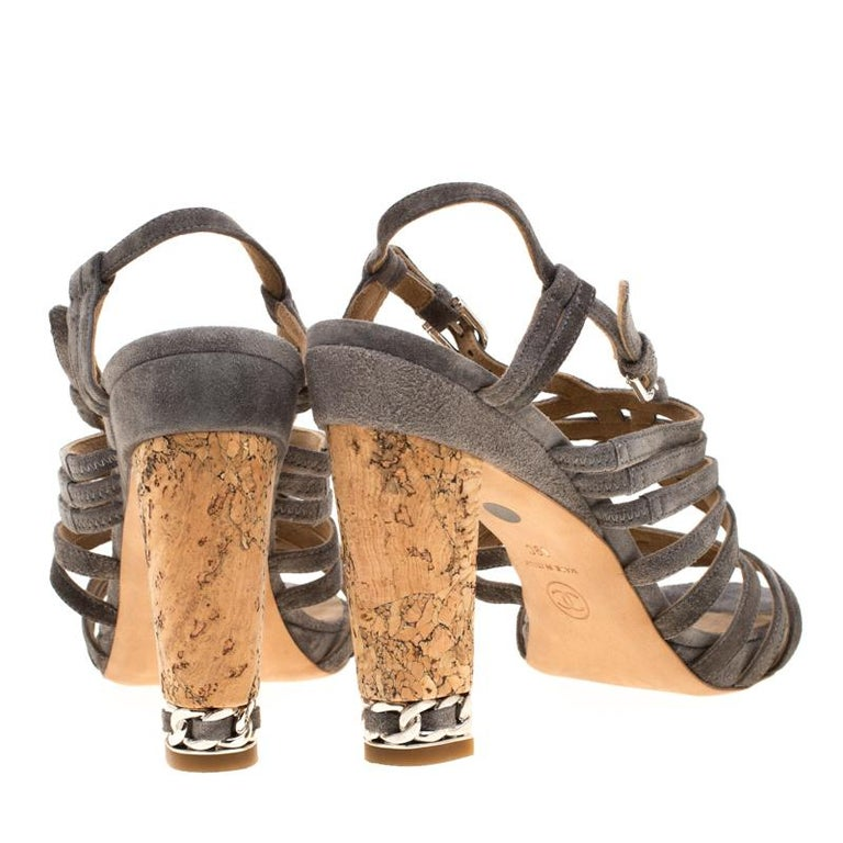 Chanel Grey Suede Chain Embellished Cork Heel Strappy Sandals Size 39 For Sale 1