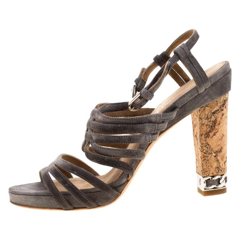 Chanel Grey Suede Chain Embellished Cork Heel Strappy Sandals Size 39 For Sale