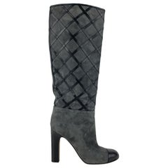 Chanel Grey Suede Quilted Knee High Boots Size 36 C