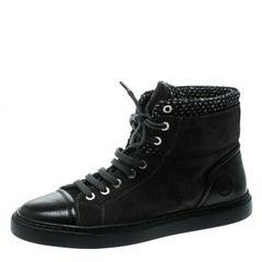 Chanel Grey Suede/Tweed High Top Sneakers Size 39.5