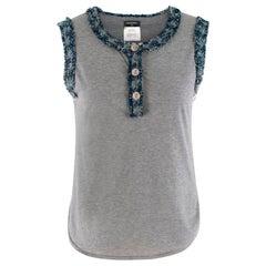 Chanel Grey Tweed Trim Top XXS 40