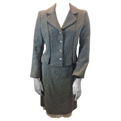 Chanel Grey Tweed Two Piece Skirt Suit