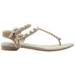 CHANEL grey velvet faux pearl embellished dual buckle strap thong sandals EU37