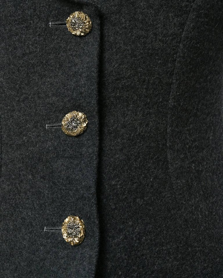 Black Chanel Grey Vest-Overcoat Dress, 2000s For Sale