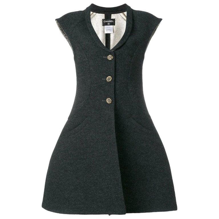 Chanel Grey Vest-Overcoat Dress, 2000s For Sale