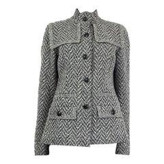 CHANEL grey wool blend Herringbone Knit Jacket 42 L 08A