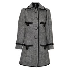 Chanel Grey Wool Chevron Pattern Coat