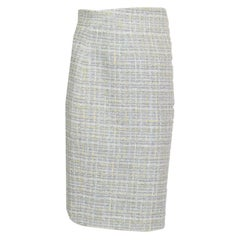 CHANEL grey & yellow cotton blend Tweed Pencil Skirt 36 XS