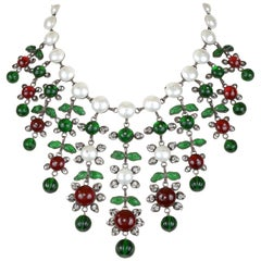 Chanel Gripoix and Pearl Bib Necklace