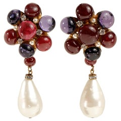 Chanel Gripoix and Pearl Flower Earrings