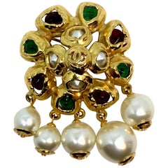 Chanel Gripoix and Pearl Pin Brooch from 1992