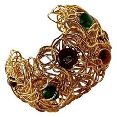 CHANEL Gripoix Birds Nest Wire Logo Cuff Bracelet