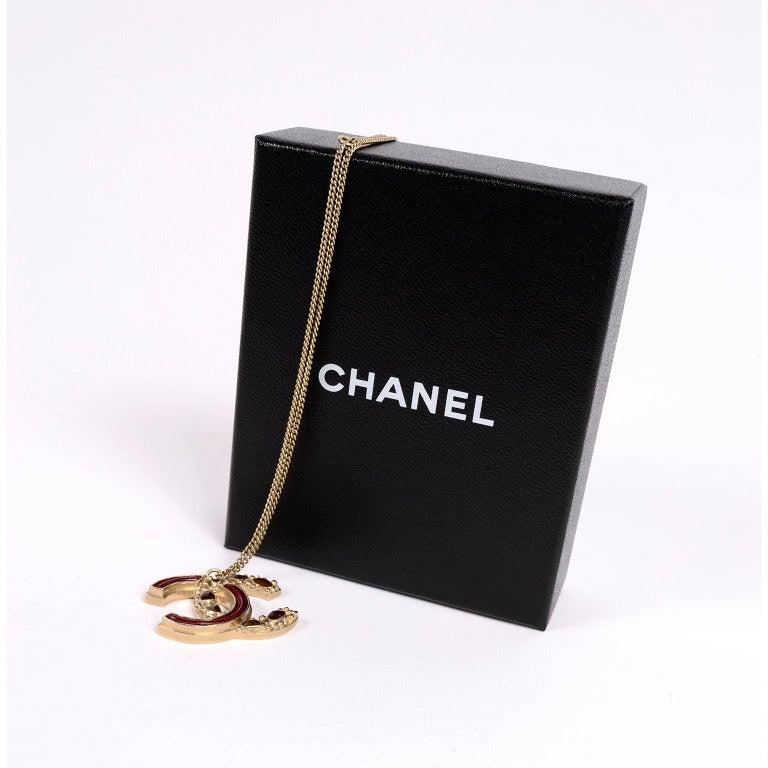 Chanel Gripoix CC Monogram Pendant Necklace Authentic in Original Box w/ Tag For Sale 6