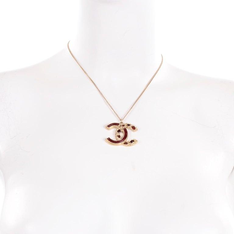 Women's Chanel Gripoix CC Monogram Pendant Necklace Authentic in Original Box w/ Tag For Sale
