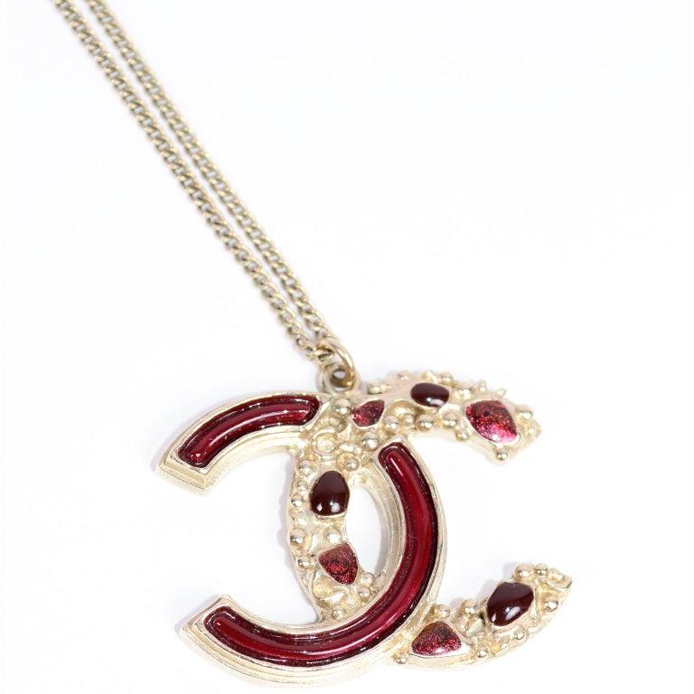 Chanel Gripoix CC Monogram Pendant Necklace Authentic in Original Box w/ Tag For Sale 1