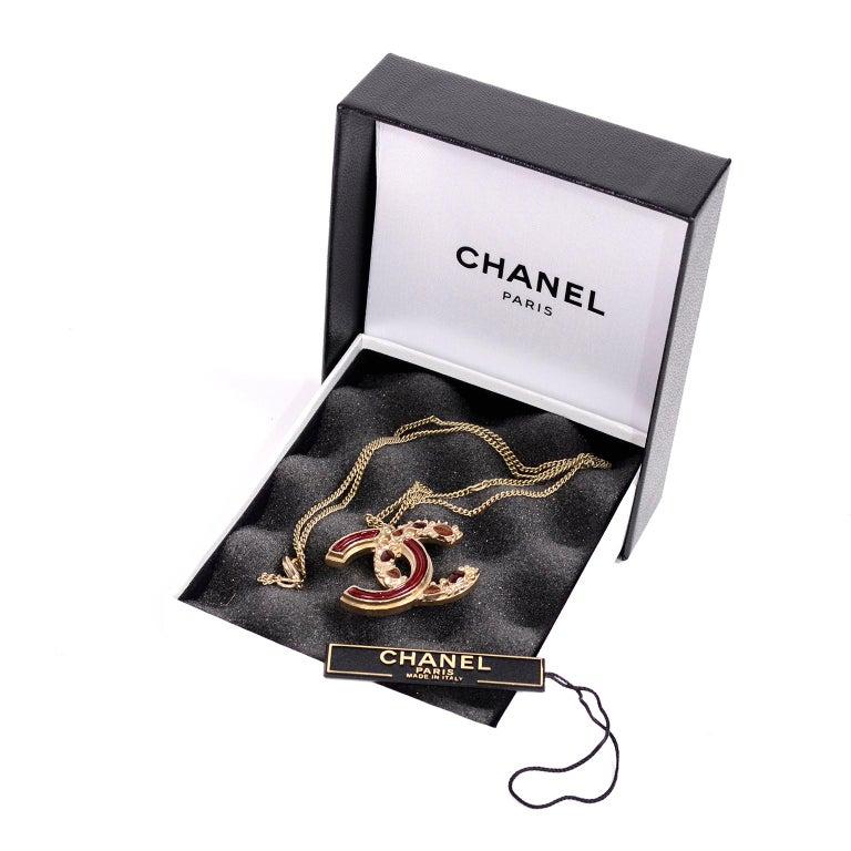 Chanel Gripoix CC Monogram Pendant Necklace Authentic in Original Box w/ Tag For Sale 3