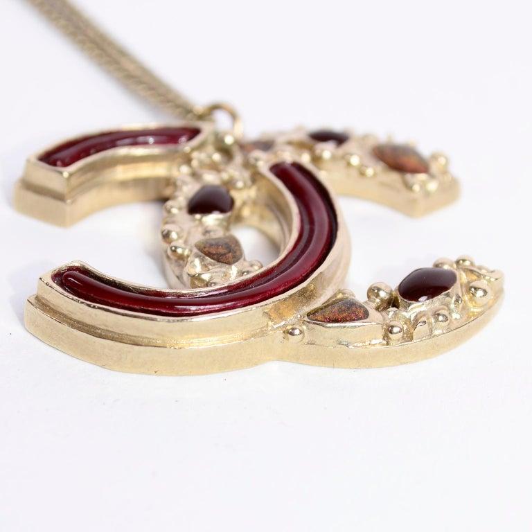 Chanel Gripoix CC Monogram Pendant Necklace Authentic in Original Box w/ Tag For Sale 5