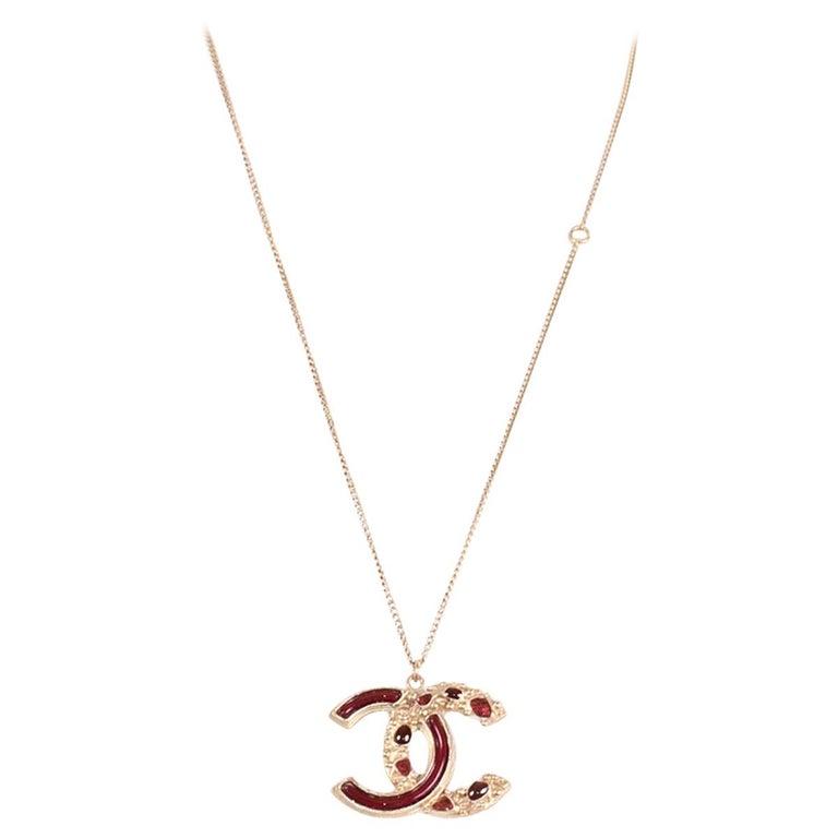 Chanel Gripoix CC Monogram Pendant Necklace Authentic in Original Box w/ Tag For Sale