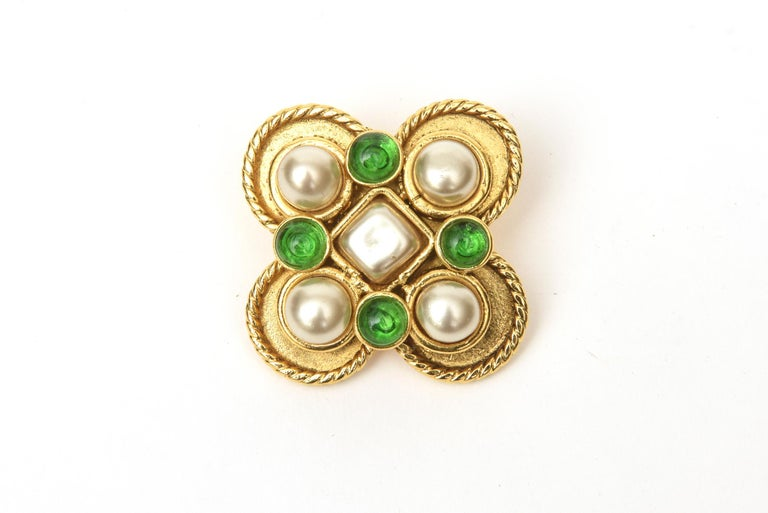 Bead Chanel Gripoix Green Glass and Faux Pearl Clip On Earrings For Sale