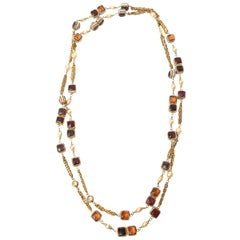 Chanel Gripoix Glass, Faux Pearl and Gold Plated Strand Necklace