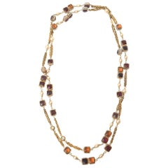 Chanel Gripoix Glass, Faux Pearl and Gold Plated Wrap Necklace