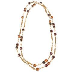 Chanel Gripoix Glass, Faux Pearl & Chain Strand Necklace Rare